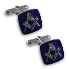Plata de ley Masónico azul gemelos esmalte