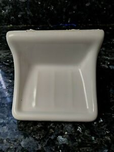 White Ceramic Soap Dish Tray Holder Gloss Vintage Retro Square Wall Mount Tray