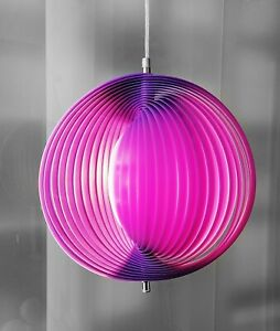 MOON LAMP Pop Art Purpur Lamellen Pendelleuchte Fächer Lampe Panton Space Stil