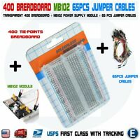 Breadboard 400 Tie-points MB102 Power Module 65pcs Jumper Cables kit for Arduino