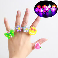10Pcs Kids LED Flashing Glow in Dark Finger Light Ring Party Funny Toys Gift New