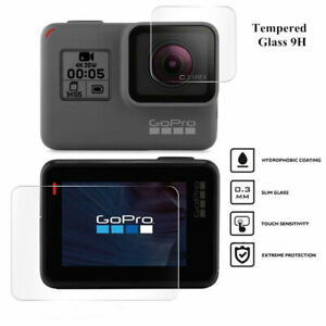 Tempered Glass Screen Protector for Black Go Pro Hero 9 8 7 6 5 Lens Camera +LCD