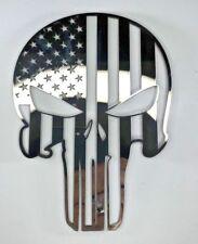 Stainless Steel Punisher Skull Emblem Decal Sticker American Flag Polished Large