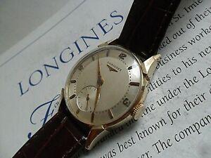 SOLID 14k Gold Vintage 1952 Men's Longines 17 Jewel Cal. 22L Swiss Watch Runs