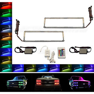 88-98 Chevy GMC Truck Color Changing LED RGB Upper Headlight Halo Rings Pair IR