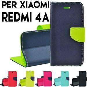 Custodia per Xiaomi Redmi 4A Libro Portafoglio chiusura magnetica porta tessere
