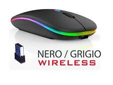 Mouse 2.4Ghz Wireless Colori Led Batteria Ricaricabile - NERO o GRIGIO