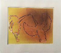 PAUL HOLSBY 1921 - 2007 - LITHOGRAFIE 2 VÖGEL 1956 SCANDINAVIAN MIDCENTURY ART
