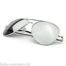 Mens Womens Army Soldier Silver Mirrored Aviator Sunglasses Shades Fancy Dress