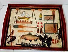 """12"""" x 14"""" Fish Angler Shadow Box vintage"""