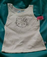 Hello Kitty Jr.Large white ribbed tank top with rhinestones