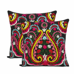 """Cotton Cover Cushion Embroidered Floral Pillow case Throw Indian Square 18x18"""""""