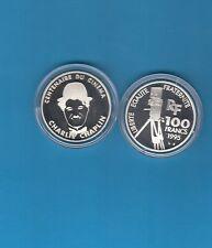 Centenaire  du Cinéma   100 Francs en argent 1995 Charlie CHAPLIN