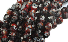 10 Red Black And White Faceted Glass Loose Beads 8MM