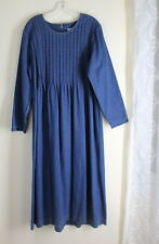 Marnie West Sz 14 Denim Art-Wear Modest Lagenlook Pintucked Yoked Pleated Dress