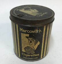 Reproduction Marcovitch Cigarettes Round Metal Tin Canister Magnums Black White