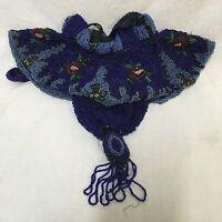 Antique Beaded Blue Handbag Reticule Dance Purse Drawstring Glass Beads Tassel