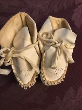 Antique Baby Shoes ~ White Leather Tie ~ 75 Years Old ~ Stupendous!