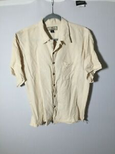 Tommy Bahama Silk Men's Beige Button Up Shirt Size L Short Sleeve