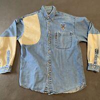 Magellan Denim Chambray Cotton Button Down Long Sleeve Shirt Size Medium