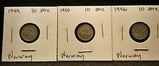 Lot of 3 Norway 10 Ore Coins, See Picture for Exact Coins you are purchasing.#10