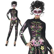Ladies Day of The Dead Sugar Skull Cat Halloween Fancy Dress Costume Outfit Extra Small 4-6