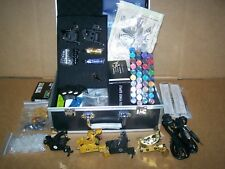 6 TATTOO MACHINE KIT-COMPLETE-NEEDLES-40 INK-POWER-TIPS-TUBES-GRIPS-SKIN-IN CASE
