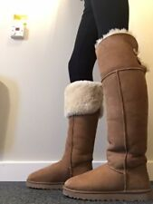 UGG AUSTRALIA - OVER THE KNEE BAILEY BUTTON - CHESTNUT -  Size UK 9.5 EU 42