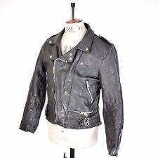 Hombre Cuero Real Negro De colección Ami Biker Racing Punk Moto 70s 80s Brando Chaqueta M