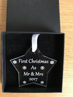 First Christmas 1st Xmas as Mr & Mrs  Decoration, Bauble, Gift Personalised