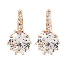 Rose Gold Plated Earrings Round Crystal Hoop Drop Dangle Women Vintage Gift