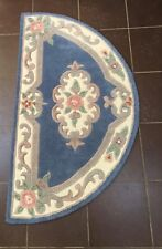 "AMBUSSON STYLE SEMI CIRCULAR BLUE 100%WOOL TRADITIONAL RUG  28"" X 49 1/2"""