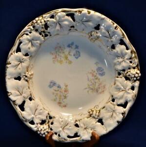 "Atq CT Germany Porcelain Gold Gilt Pink Blue FLOWERS 11 3/4""d Pierced Rim Plate"
