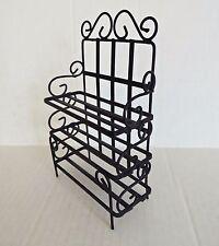 Vtg Dollhouse Miniature Black Metal Baker's Shelf Etagere Bookcase Free Standing