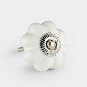 Vintage White Ceramic Mushroom Flower Drawer Pulls Cupboard Door Knob Handle