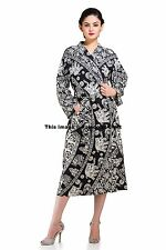 Indian Black & White Elephant Mandala Kimono Bath Robe Coverup Night Wear Gown