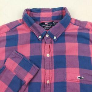Vineyard Vines Mens XL Slim Fit Blue Pink Buffalo Checked Whale Flannel Shirt