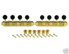 KLUSON SUPREME KMTAG18-BK A TYPE MANDOLIN TUNERS IN GOLD W/ BLACK BUTTONS