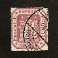 Hamburg stamp #25, used, A5, rouletted 10, 1866, nice!  SCV $125