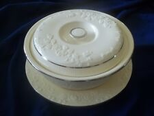 Homer Laughlin Oven Serve Casserole w/ Under Plate  Cream w/  Platinum Trim