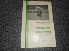NORWICH CITY  v  LUTON TOWN  1948/9  BERNARD ROBINSON'S BENEFIT ~ APRIL 25th