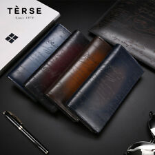 Terse Berluti Style Handmade Vintage Genuine Leather Patina Carved Long Wallet