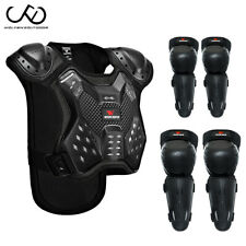Kids Motocross Body Armour Protection Jacket Vest Knee Elbow Pad Guards Sports