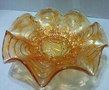 Vintage Imperial Marigold Pansy Ruffled Bowl 9""