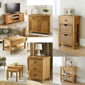 Wiltshire Oak Furniture Drawer Tv Unit Nest of Tables Coffee Table Console Table