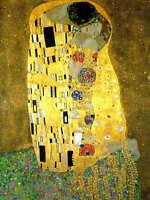 """Gustav Klimt `The Kiss'  *FRAMED* CANVAS ART 24x16"""" Art"""