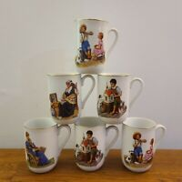 VTG Set of 6 Norman Rockwell Museum Coffee Cups/Mugs