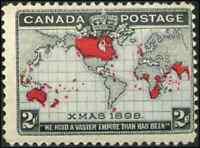 Canada #85 mint F OG NH 1898 Map/Xmas 2c black, lavender & carmine CV$50.00