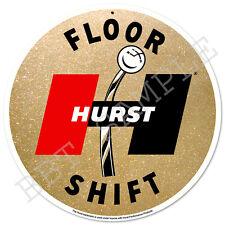 Hurst 60's Floor Shift Gold Metalflake - Vintage Metal Sign - Gasser Shifter