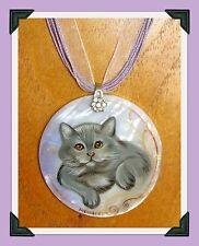 SHELL ciondolo dipinto a mano BRITISH SHORTHAIR CAT GATTINO dall' artista gorbachova